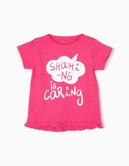 Camiseta para Niña 'Sharing is Caring', Rosa