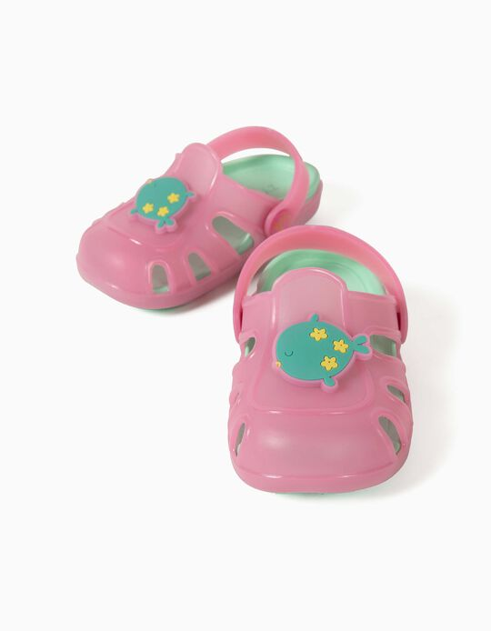 Clog Sandals for Baby Girls, 'Fish', Pink/Green