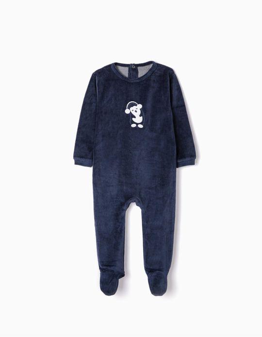 Velvet Sleepsuit for Babies 'Cute Penguin', Dark Blue