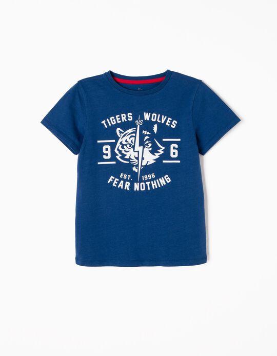 T-shirt Tigers Vs Wolves Azul