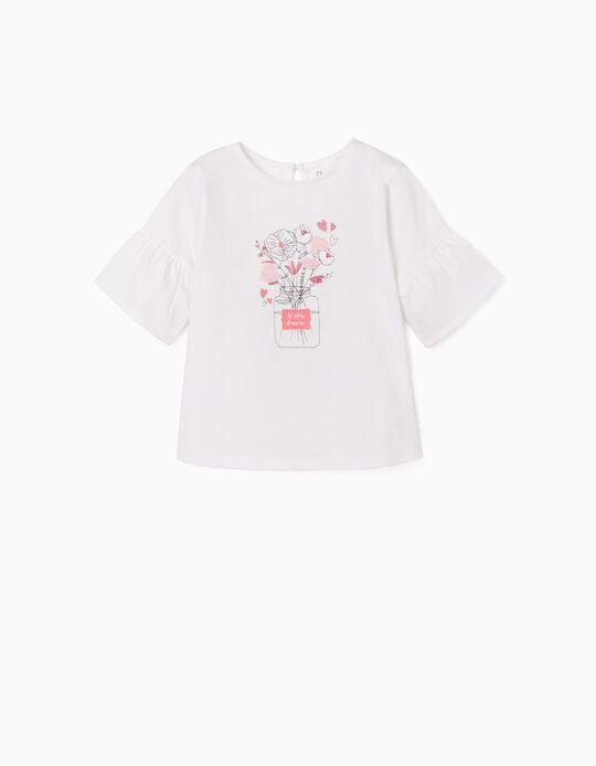 T-shirt com Bordados para Menina 'Le Pleur d'Amour', Branco