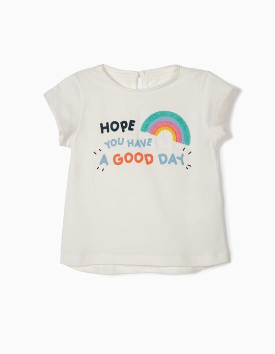 Camiseta para Bebé Niña 'Good Day', Blanca