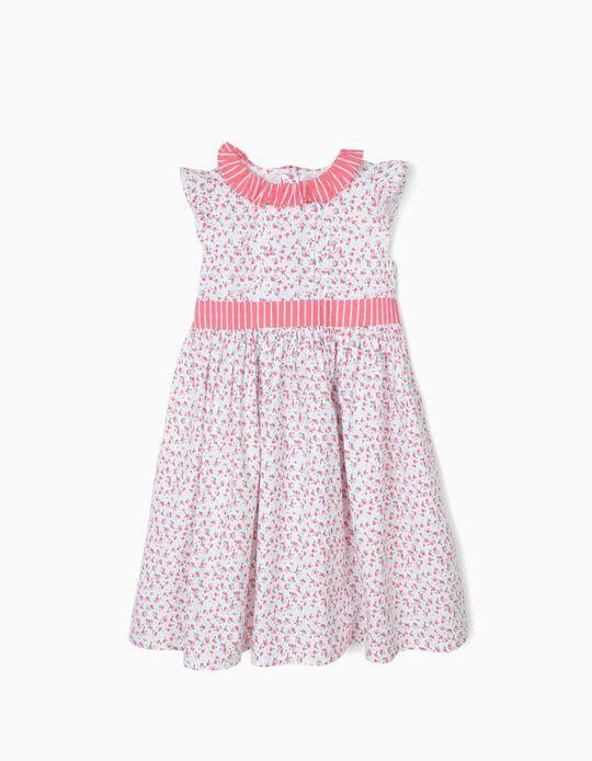 Vestido para Menina Flores e Riscas, Branco e Rosa