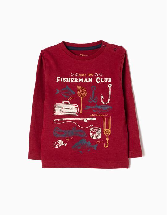 Camiseta de Manga Larga Fisherman Roja