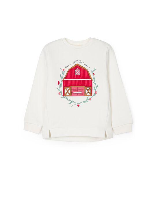 Sweatshirt for Girls, 'Barn House', White