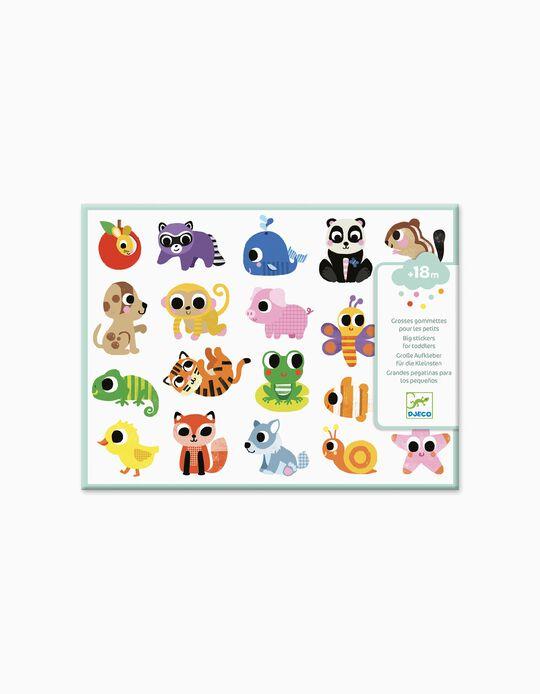 20 Autocolantes Grandes Baby Animals Djeco 18M+