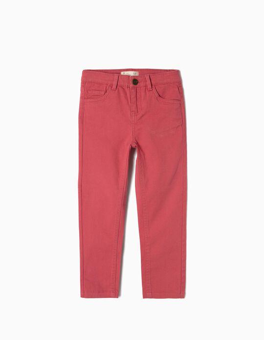 Pantalón de Sarga para Niña, Rosa Oscuro