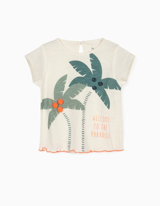 T-shirt bébé fille 'Welcome to Paradise', blanc