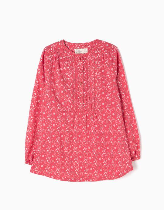 Blusa Pliegues y Flores Rosa