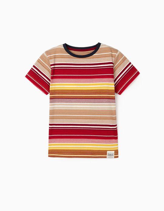 T-shirt Riscas para Menino, Vermelho/Amarelo/Bege