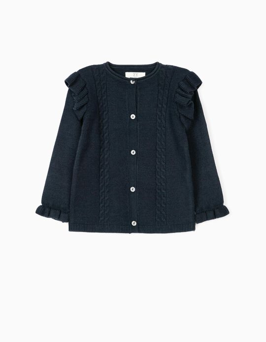 Cardigan with Ruffles for Baby Girls, Dark Blue