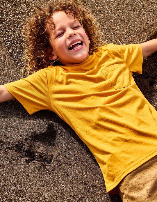 Camiseta con Bolsillo para Niño de Algodón Orgánico, Amarillo