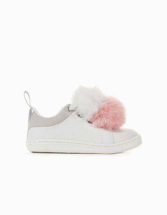 Zapatillas con Pompones Bebé Niña '96 Sneaker', Blancas
