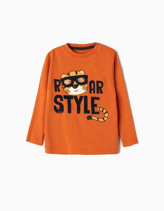 Camiseta de Manga Larga para Bebé Niño 'Roar Style', Naranja