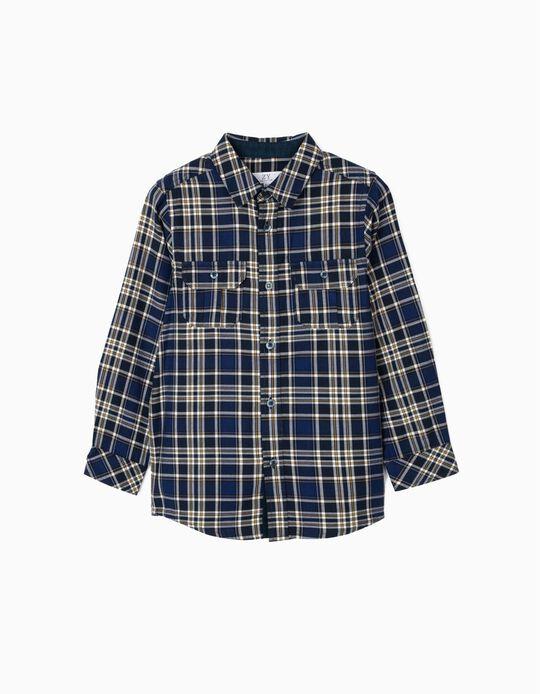 Camisa Ajedrez para Niño, Azul Oscuro