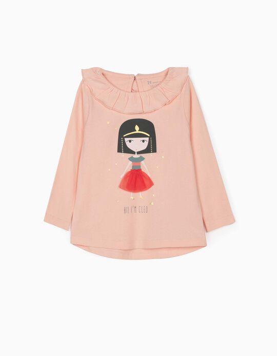 T-shirt Manga Comprida para Bebé Menina 'Cleo', Rosa