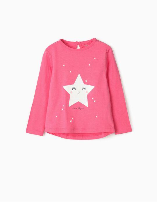 T-shirt Manga Comprida para Bebé Menina 'Baby Star', Rosa