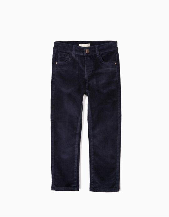 Pantalon velours côtelé garçon, bleu foncé