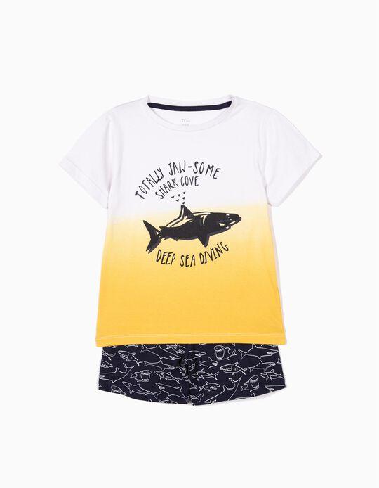 Pijama para Menino 'Shark', Amarelo e Azul Escuro