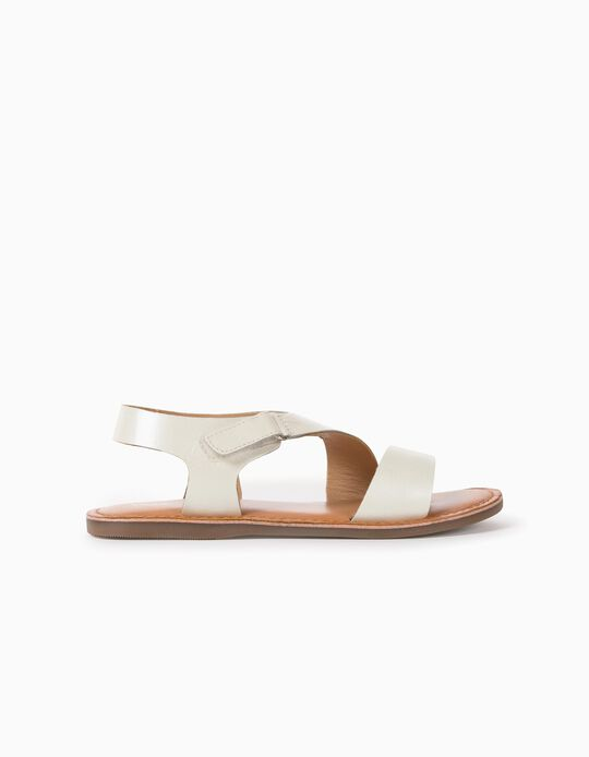 Leather Sandals for Girls, Pearl White