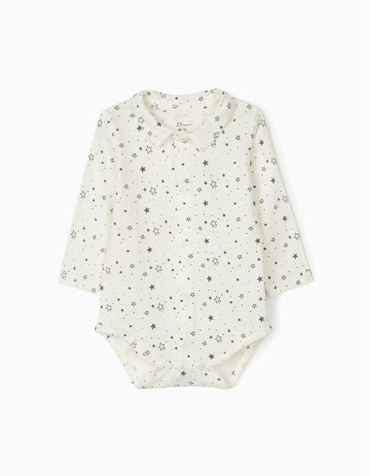 Bodysuit for Newborn Baby Boys 'Stars', White