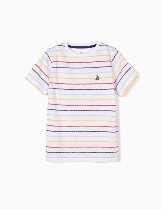 Camiseta para Niño a Rayas estilo Marinero, Blanca