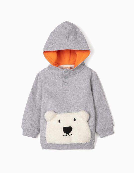 Sudadera con Capucha para Bebé Niño 'Cute Bear', Gris