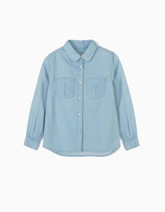 Camisa Vaquera para Niña, Azul Claro