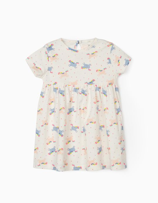 Jersey Knit Dress for Baby Girls, 'Solar System & Unicorns', White