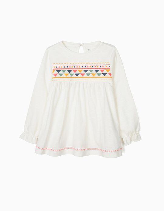 Camiseta de Manga Larga para Niña con Bordados, Blanco