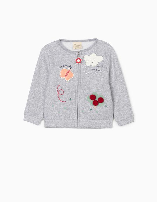 Jersey Jacket for Baby Girls 'Cute Butterfly', Grey