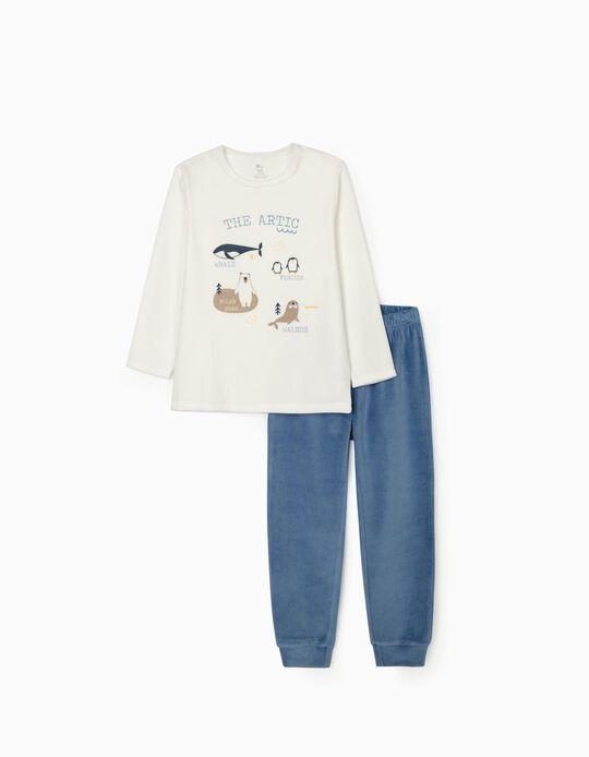Pijama Terciopelo para Niño 'The Artic', Blanco/Azul