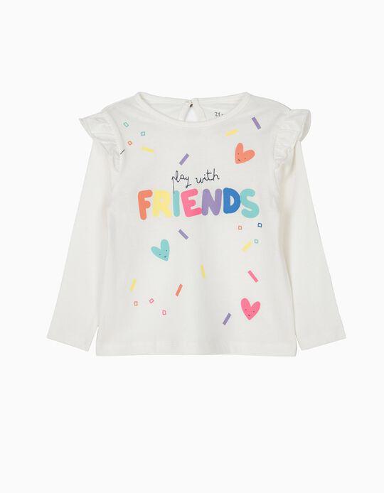 Camiseta de Manga Larga para Bebé Niña 'Friends', Blanca