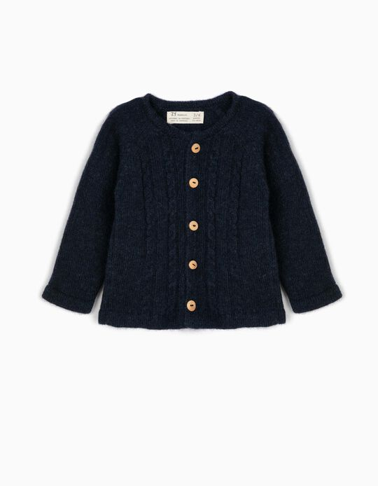 Wool Blend Cardigan for Newborn, Blue
