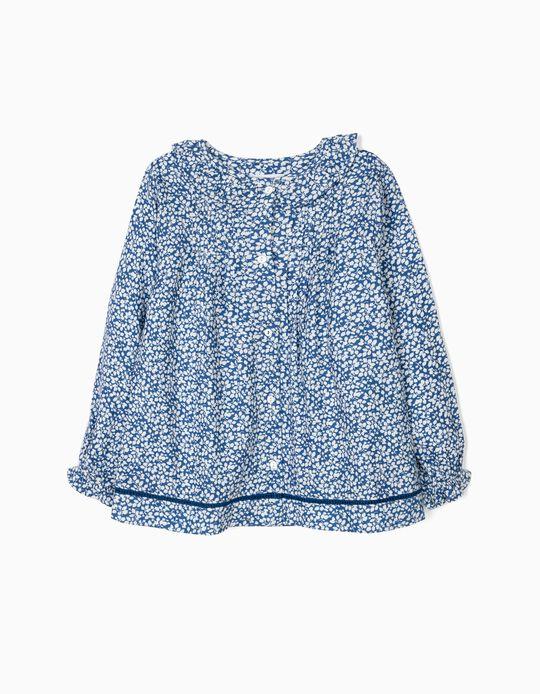 Blusa para Menina 'Flores', Azul