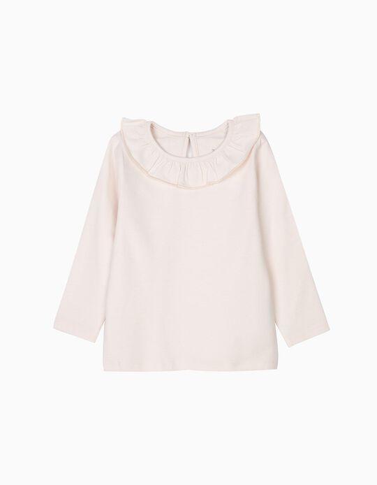 Camiseta con Volante de Manga Larga para Bebé Niña, Rosa Claro