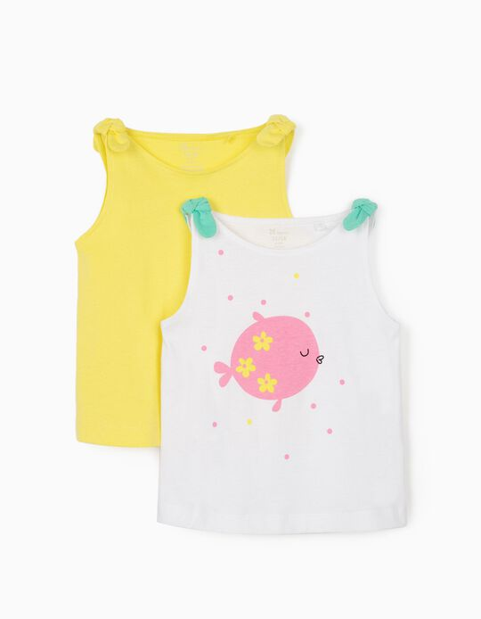 2 Cami Tops for Baby Girls, 'Fish', White/Yellow