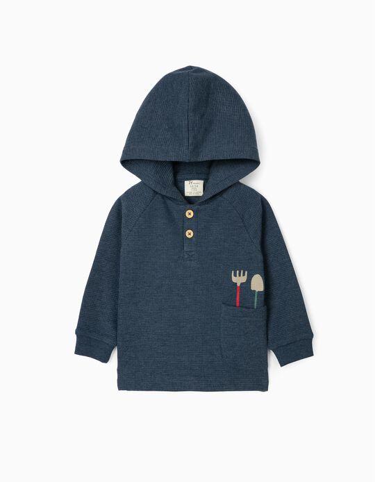 Sweatshirt Waffle com Capuz para Bebé Menino, Azul