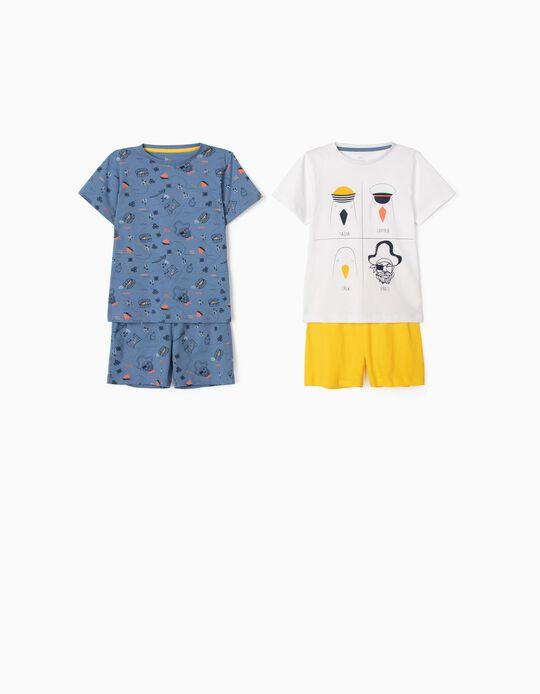 Pyjamas for Baby Boys, 'The Ocean Captain', White/Blue
