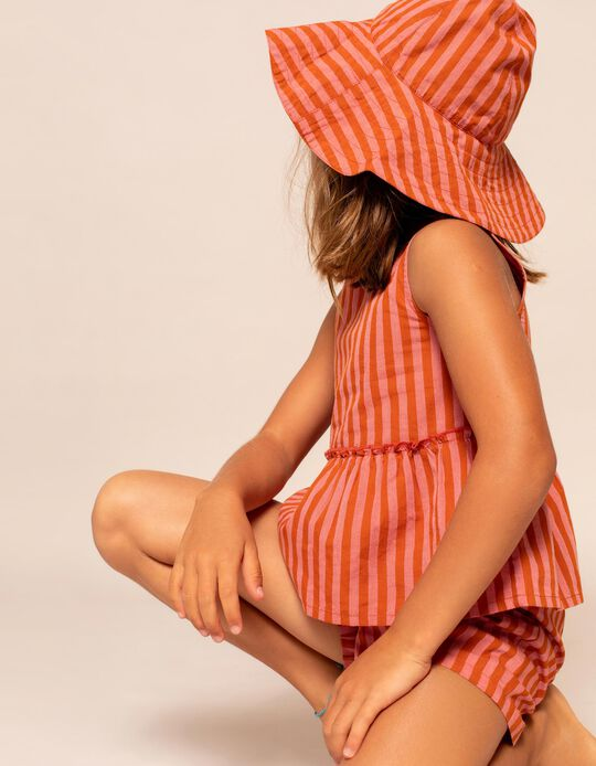 Top, Shorts, and Hat for Girls, Dark Orange/Pink