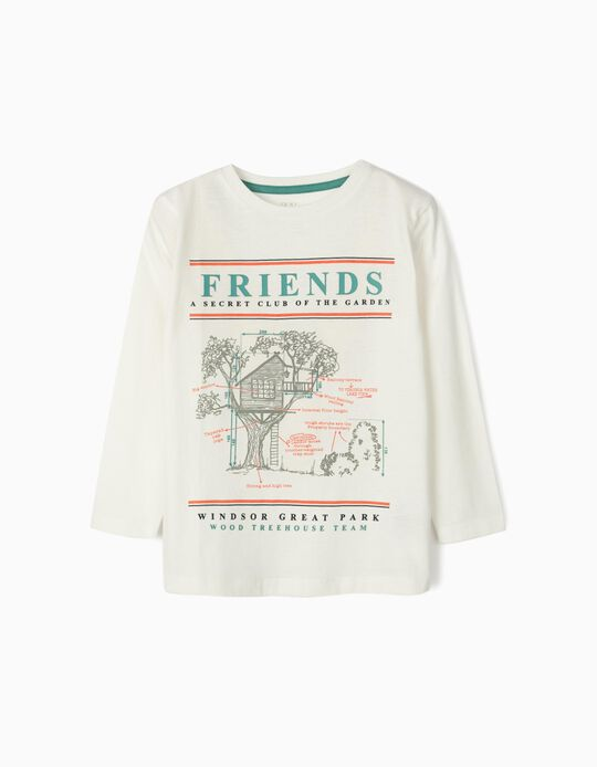 Long Sleeve Top for Boys, 'Friends', White