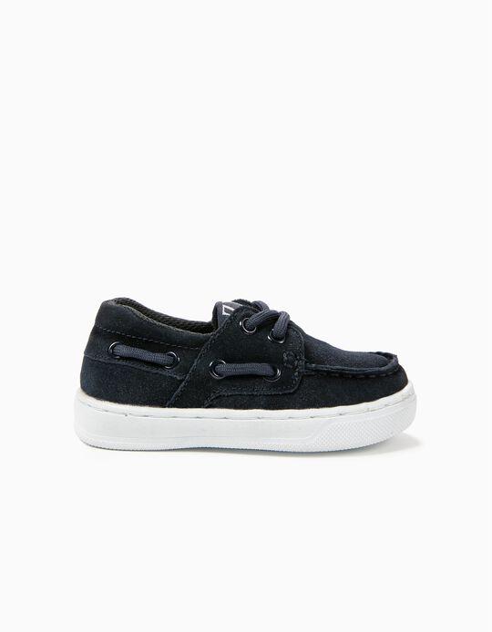 Zapatos de Ante para Bebé Niño, Azul Oscuro