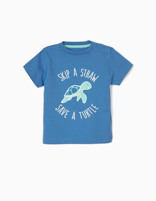 Camiseta para Bebé Niño 'Save a Turtle', Azul