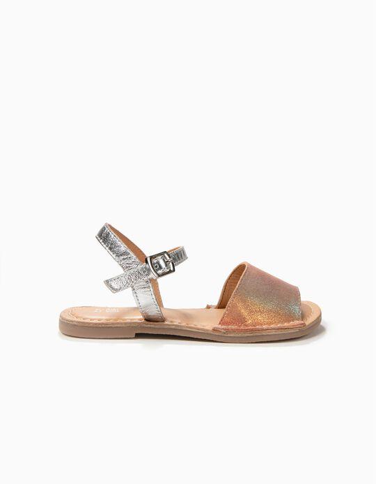 Sandalias de Piel para Niña Menorquinas, Plateadas y Rosa