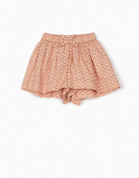 Floral Shorts for Baby Girls, Light Brown
