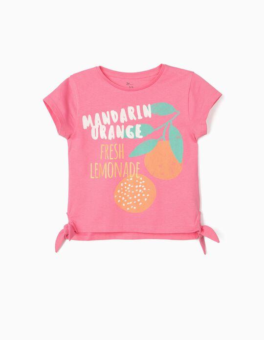 T-shirt for Girls, 'Mandarin Orange', Pink
