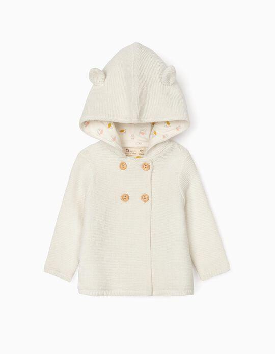 Hooded Cardigan for Newborn Baby Boys, White