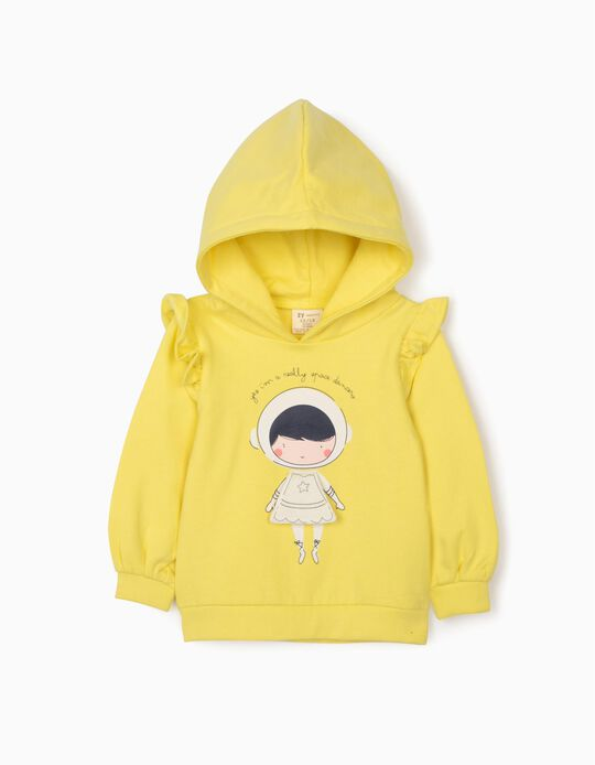 Hooded Sweatshirt for Baby Girls 'Space Dancer', Yellow