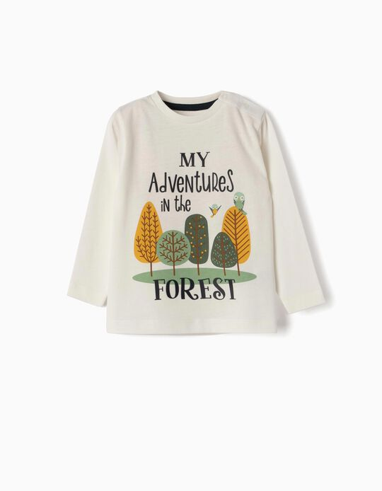 Camiseta de Manga Larga para Bebé Niño 'My Adventures', Blanca