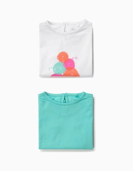 2 Camisetas para Bebé Niña 'Ice Cream', Blanco y Azul